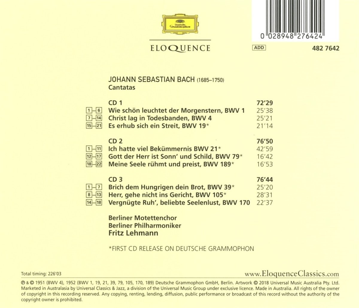 Cantata BWV 19 - Recordings - Details & Discography Part 1